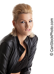 blond young woman portrait in leather jacket