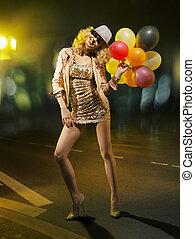 blonde , aanlokkelijk, vrouw, met, ballons