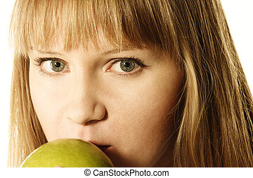 Blonde and apple