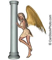 Blonde Angel leaning on a Pillar 1