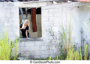 Blonde at an Abandoned House