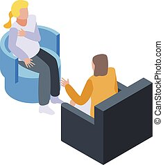 Blonde at psychologist icon, isometric style