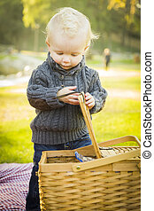 Blonde Baby Boy Opening Picnic Basket Outdoors at the Park