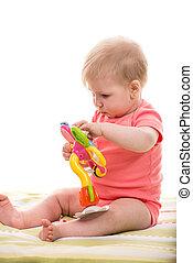 blonde , baby meisje, spelend, met, bloem, speelbal