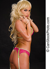 Blonde - Beautiful blonde in pink and green lingerie