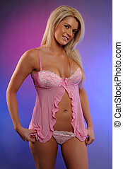 Blonde - Beautiful statuesque blonde in a pink babydoll