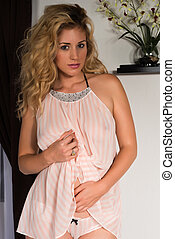 Blonde - Beautiful tall blonde in a pink and white babydoll
