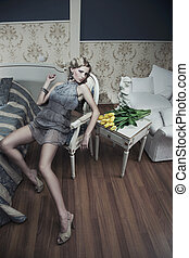 blonde beauty in a vintage room