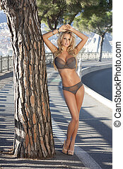 Blonde beauty posing in lingerie.