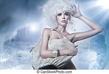 Blonde beauty with bag