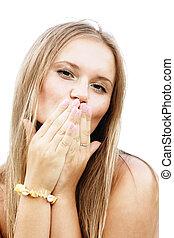 Blonde blowing kiss