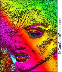 Blonde bombshell, modern abstract - A unique modern digital...