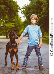 blonde boy posing with the dog or doberman in summer park. Warm toned image