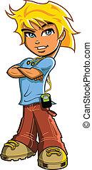 Blonde Boy With Headphones - Handsome blonde boy with blue ...