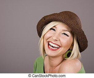 Blonde Brown Hat Smiling