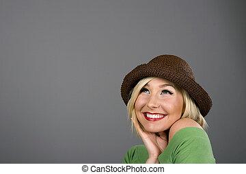 Blonde Brown Hat Smiling Looking Up