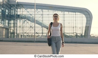 Blonde Business Woman in Airport
