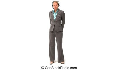 Blonde business woman speaking