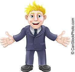 Blonde businessman cartoon - Cartoon illustration of a happy...