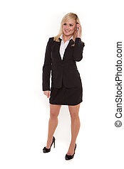 Blonde businesswoman chatting on her mobile
