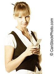 Blonde businesswoman holding phone