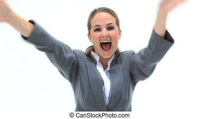 Blonde businesswoman shouting the arms in front of her