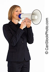 Blonde businesswoman speaking into a megaphone