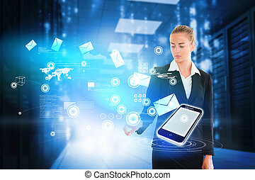 Blonde businesswoman touching email - Digital composite of ...