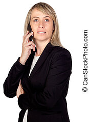 Blonde businesswoman with a mobile