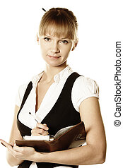 Blonde businesswoman with open notepad