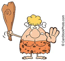 Blonde Cave Woman With A Club