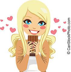 blonde, chocolade, minnaar