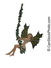 Blonde Fairy - Blonde fairy swinging on a swing