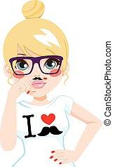 Blonde Fake Mustache Girl - Funny blonde hipster girl making...