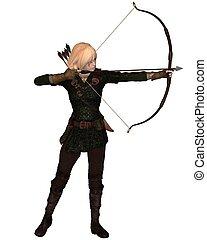 Blonde Female Archer Standing - Blonde female archer with...