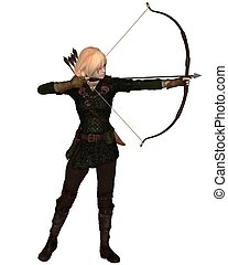 Blonde Female Archer Standing - Blonde female archer with...