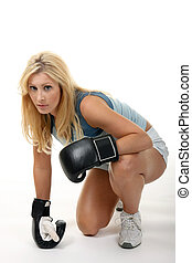 Blonde Female Boxing