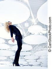 blonde , futuristisch, ouderwetse , sexy, vrouw, in, black