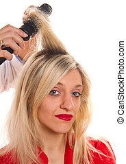 blonde girl at the hairdresser