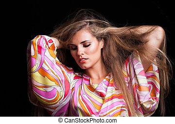 blonde girl beauty portrait in silky colorful dress
