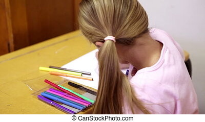 Blonde girl coloring