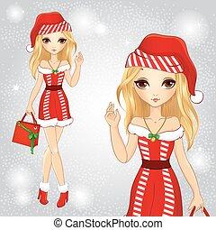 Beautiful blonde girl dressed as santa . clip-art ...