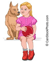 Blonde girl dressed in pink dress and red boots holding a red ball while sitting with her dog