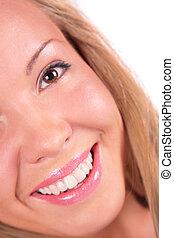 Blonde girl face close-up