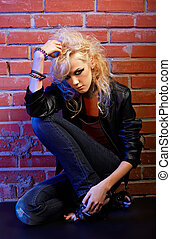 blonde girl glam rocker - portrait of beautiful glam rock...