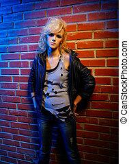 blonde girl glam rocker - portrait of beautiful glam rock...