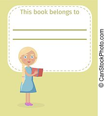 Blonde Girl Holds Book and Place for Owner Name