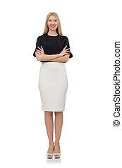Blonde girl in black skirt isolated on white