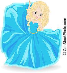 blonde girl in blue evening dress