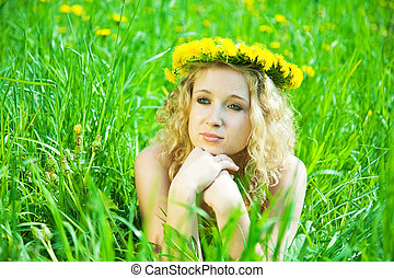 Blonde girl in chaplet
